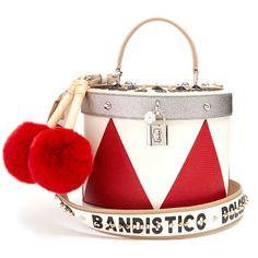 Dolce & Gabbana Drum fur-trimmed leather shoulder bag (46 900 ZAR) ❤ liked on Polyvore featuring bags, handbags, shoulder bags, genuine leather handbags, leather purses, leather shoulder bag, white purse and leather handbags