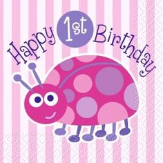 Ladybug 1st birthday lunch napkins 16ct./ Wally's Party Factory #ladybug #1st #birthday #lunch #napkins