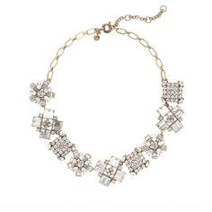 J.Crew Crystal crush necklace ($165) ❤ liked on Polyvore featuring jewelry, necklaces, crystal stone jewelry, crystal necklace, vintage necklace, geometric necklace and j.crew