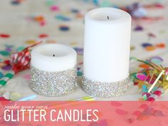 I can't get enough of glitter and gold this time of year! My latest tutorial on Momtastic is making these easy glitter candles, perfect for decorating for a New Years Eve party or just to feel fest. Glitter Candles, Diy Candles, Homemade Candles, White Candles, Gold Glitter, Organize Life, Crafts To Do, Diy Crafts, Diy Inspiration