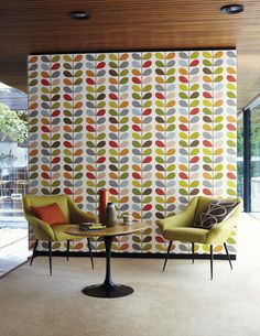 f you prefer more of a retro living area which is currently a hot interiors trend, why not look at Harlequin's collaboration of retro inspired wallpapers with renowned designer Orla Kiely.
