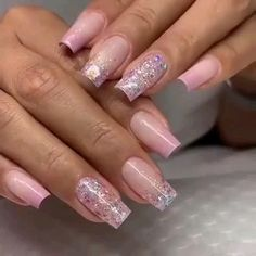Cute Pink Nails, Pink Ombre Nails, Fancy Nails, Blue Nails, Pretty Nails, White Acrylic Nails, Summer Acrylic Nails, Ombre Nail Designs, Nail Art Designs