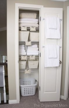 Perfect way to make guests feel right at home. Guest room closet, everything labeled.
