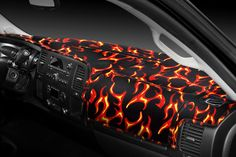 Image may not reflect your exact vehicle! Coverking® - Designer Velour Fire Design Custom Dash Cover