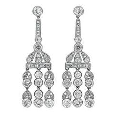 5.85 Carat Diamond Platinum Drop Earrings | From a unique collection of vintage drop earrings at https://www.1stdibs.com/jewelry/earrings/drop-earrings/