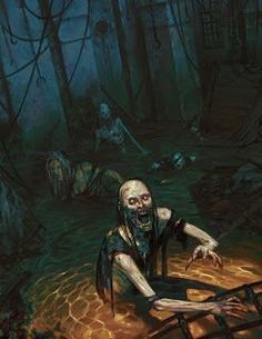 Swamp undead Zombies ruins wilderness Meanwhile Back in The Dungeon. Dark Fantasy Art, Fantasy Rpg, Medieval Fantasy, Dark Art, Gothic Horror, Arte Horror, Horror Art, Dungeons And Dragons, Post Apocalyptic Art
