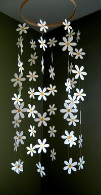 Flower Mobile - Paper Daisy Mobile Inspired by Pottery Barn Kids for Nursery, Baby or Kids Decor. $35.00, via Etsy.