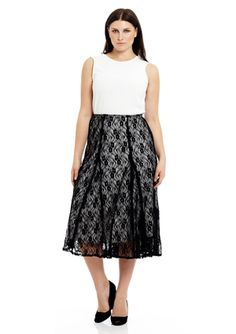 LUCKY AND COCO Plus Lace Mid-Length Skirt