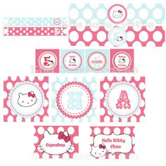 Complete Hello Kitty Birthday Party Favor tHKags and Printables- pdf File. $25.00, via Etsy.