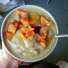 4 frozen bananas 1 apple  2 dates 1tbs sesame seeds 1tsp vanilla  1tsp cinnamon  Blended and topped with a fresh ripe peach