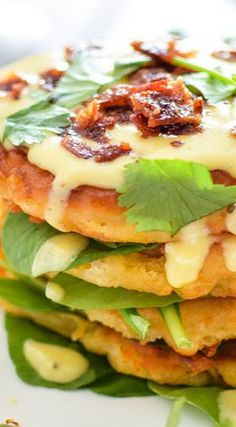 Butternut Squash Cheesy Corn Cakes with Gruyere Hollandaise | savory butternut squash recipes, fall food