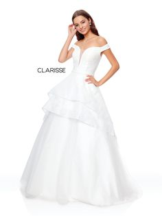 8d44dc9adf0 3730 - Ivory off the shoulder high low prom dress with a detachable skirt  Ivory Formal