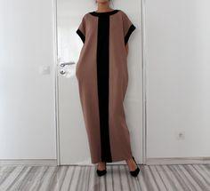 Mocha and Black Long Maxi Elegant Caftan by cherryblossomsdress