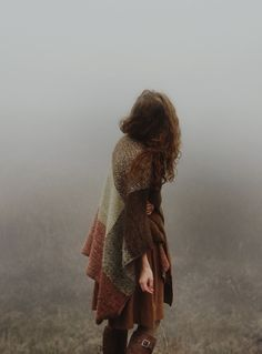 ohgeez yes I just want to wander around in a foggy autumn in a drapey wrap and cozy boots