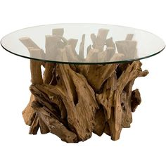 Plymouth Coastal Beach Teak Driftwood Round Glass Coffee Table featuring polyvore, home, furniture, tables, accent tables, teakwood table, teak coffee table, teak wood coffee table, drift wood table and driftwood coffee table