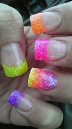 Nail art is a very popular trend these days and every woman you meet seems to have beautiful nails. It used to be that women would just go get a manicure or pedicure to get their nails trimmed and shaped with just a few coats of plain nail polish. Rainbow Nails, Neon Nails, Love Nails, Glitter Nails, How To Do Nails, Pretty Nails, My Nails, Sparkly Nails, Bright Nails
