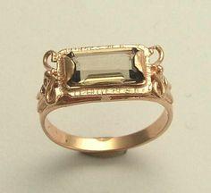 14K rose gold gemstone victorian ring inlaid rose cut stone