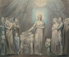 William Blake Christ Baptizing Pen and ink and watercolor over graphite on ivory wove paper Dimensions: Sheet: 12 x 15 inches x cm) Accession Number: Credit Line: Gift of Mrs. William Thomas Tonner, 1964 Philadelphia Museum of Art English Poets, Bible News, Dreams And Visions, Bible Pictures, William Blake, Philadelphia Museum Of Art, New Testament, Great Artists, Printmaking