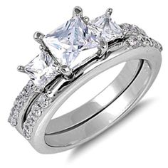 Sterling Silver Wedding set size 10 CZ Princess cut Engagement Ring New w82 #Unbranded