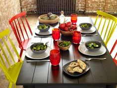 Milner dining table and Talia chairs paired with Courbe dinnerware range. #Habitat