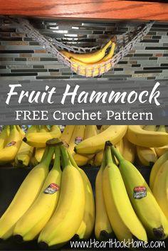 Lonely Banana? Make a Crocheted Fruit Hammock http://hearthookhome.com/lonely-banana-make-a-crocheted-fruit-hammock/