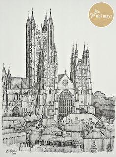 """""""CANTERBURY CATHEDRAL (Catedral de Cantuária)"""". Técnica: bico de pena s/ papel C à grain 180g/m², tamanho 38X28cm."""