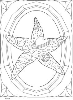 Starfish, solar system, planets coloring sheet Dover Publications