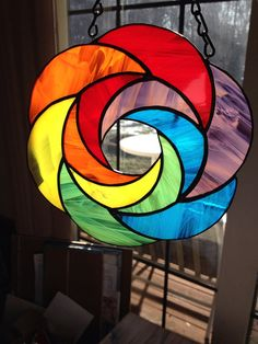 Handmade Rainbow Geometric Abstract Stained Glass by BRGlassWorks, $30.00