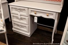 A Silver Mink and A Pop of Coral French Provincial Vanity Revival - Southern Revivals