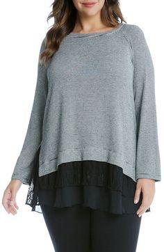 Main Image - Karen Kane Tiered Hem Stripe Knit Top (Plus Size)