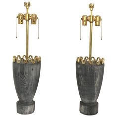 James Mont Cerused Redwood and Brass Lamps | From a unique collection of antique and modern table lamps at https://www.1stdibs.com/furniture/lighting/table-lamps/