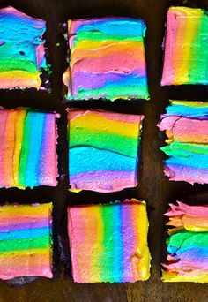 Rainbow brownies. They look so pretty… even though I don't like frosting on brownies.