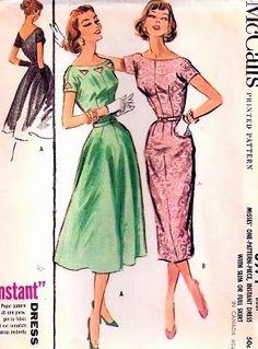 1950s SLIM or FULL SKIRTED DRESS PATTERN CUT OUT NECKLINE, V BACK  LOVELY DESIGN McCALLS 3971