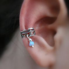 Sterling Silver Handcrafted Leaf Textured Opal Ear Cuff Cartilage/catchless/helix. $11.95, via Etsy.