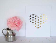 Modern Polka Dot Heart Gold Foil Print by AllThingsPrettyBlog, $19.95