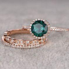 3pcs Emerald Engagement ring Set!14k rose gold,Diamond wedding band,7mm Round Cut,Bridal Ring