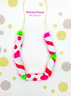 Painted Pasta Necklaces - classic summer craft for kids fun. I adore the neon paint and pom poms @mollymooblog for @skiptomyloublog