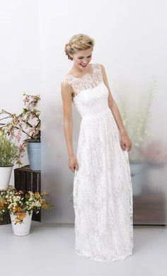 Brautkleid mit Spitze, romantische Hochzeitskleid, Hochzeit, ärmellos