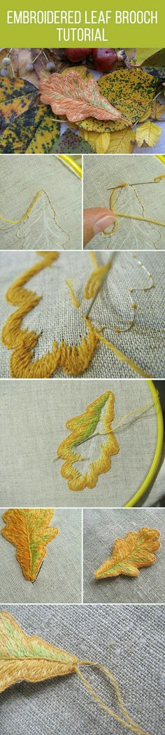 Brazilian Embroidery Tutorial Embroidered leaf brooch tutorial - This instructable will teach you the very basics of hand embroidery. Learning to embroider is not as tough as you might think! With a bit of practice, you'll get . Embroidery Designs, Crewel Embroidery Kits, Ribbon Embroidery, Cross Stitch Embroidery, Brazilian Embroidery Stitches, Diy Inspiration, Embroidery Techniques, Fabric Patterns, Needlework