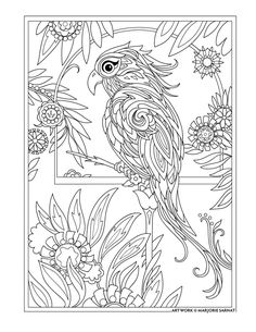 Bird Coloring Page from Pampered Pets Coloring Book. Artwork by Marjorie Sarnat. coloriage More Bird Coloring Pages, Colouring Pics, Mandala Coloring Pages, Adult Coloring Pages, Coloring Books, Coloring Sheets, Valentines Day Coloring Page, Mandala Art, Illustration