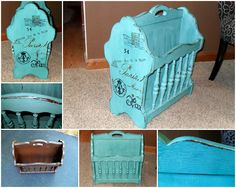 """Emile"" a magazine rack with a French attitude! CeCe Caldwell's Destin Gulf Green and a graphic from The Graphic Fairy!"