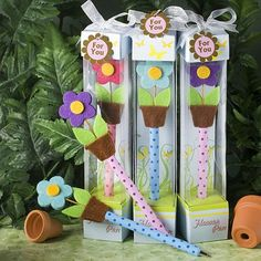 Flower pot bookmarks - great for a shower too!