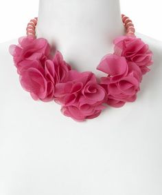 Another great find on #zulily! Pink Silk Rose Bib Necklace by Love, Kuza #zulilyfinds