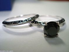 14K White Gold 2.00ct Black Diamond Ring