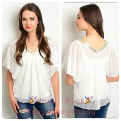 Host Pick  Boho Chic White Gold Top Best in Retail Host Pick by @sayeverything Beautiful white sheer top with gold neckline. The perfect boho chic shirt to go with anything: leather leggings, flowing skirts, shorts, you name it! Made of 100% polyester. Available in small and medium. Tops