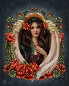Angel Poppy  Art Print  Brigid Ashwood by brigidashwood on Etsy, $15.00