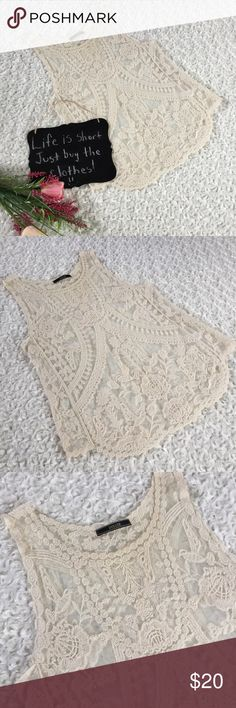 "Dulcie lace tank Very very cute lace ivory tank sleeveless top by Dulcie!! Size M. 18"" arm pit to arm pit. 26.5"" length. Dulcie Tops Tank Tops"