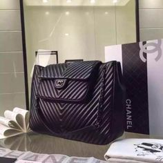 Authentic Chanel Large Calfskin Chevron Quilting Shopping Bag 2015 on Carousell