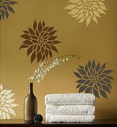 Fun and funky oversized Dahlia flower stencils for your next wall art stenciling project! These large REUSABLE floral stencils make a stunning accent  on a boring empty wall above the sofa or table, o
