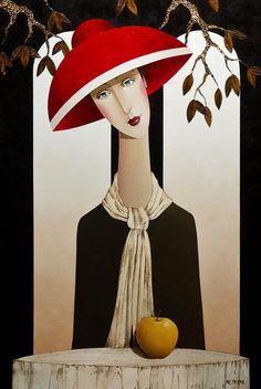 """Charlotte and the Apple"", Pintura de Danny McBride Danny Mcbride, Woman Painting, Pics Art, Portrait Art, Figurative Art, Oeuvre D'art, Female Art, New Art, Folk Art"